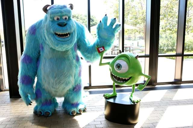 Sullye and Mike, Monsters Inc with Our Dad's Flag at Pixar Animation Studios, CA.