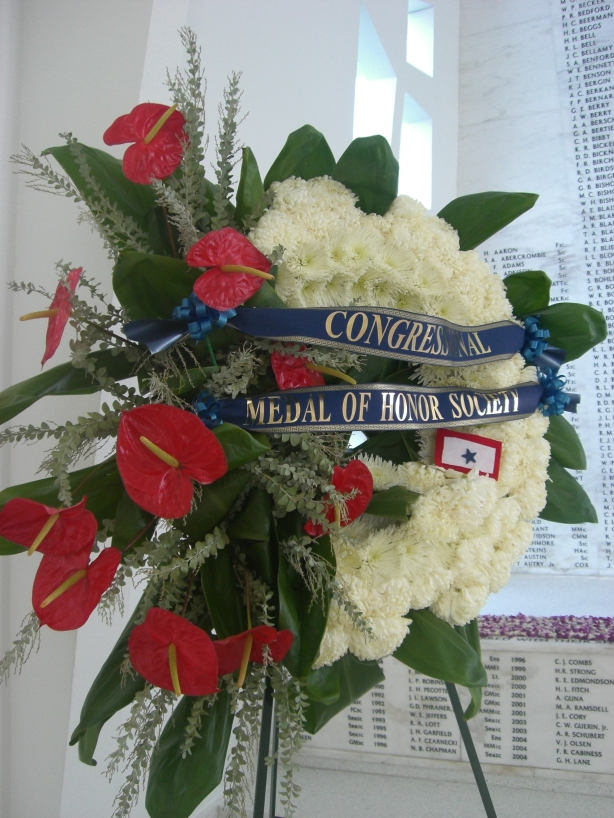 ODF on a memorial wreath laid at the USS Arizona Memorial