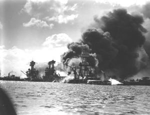 USS Arizona on fire 12-7-41 in Pearl Harbor.