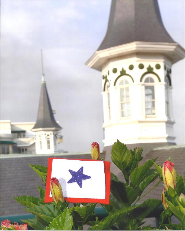 Our Dad's Flag at Churchill Downs, Home of the Kentucky Derby. Copyright photo Reed Palmer Photography Churchill Downs.